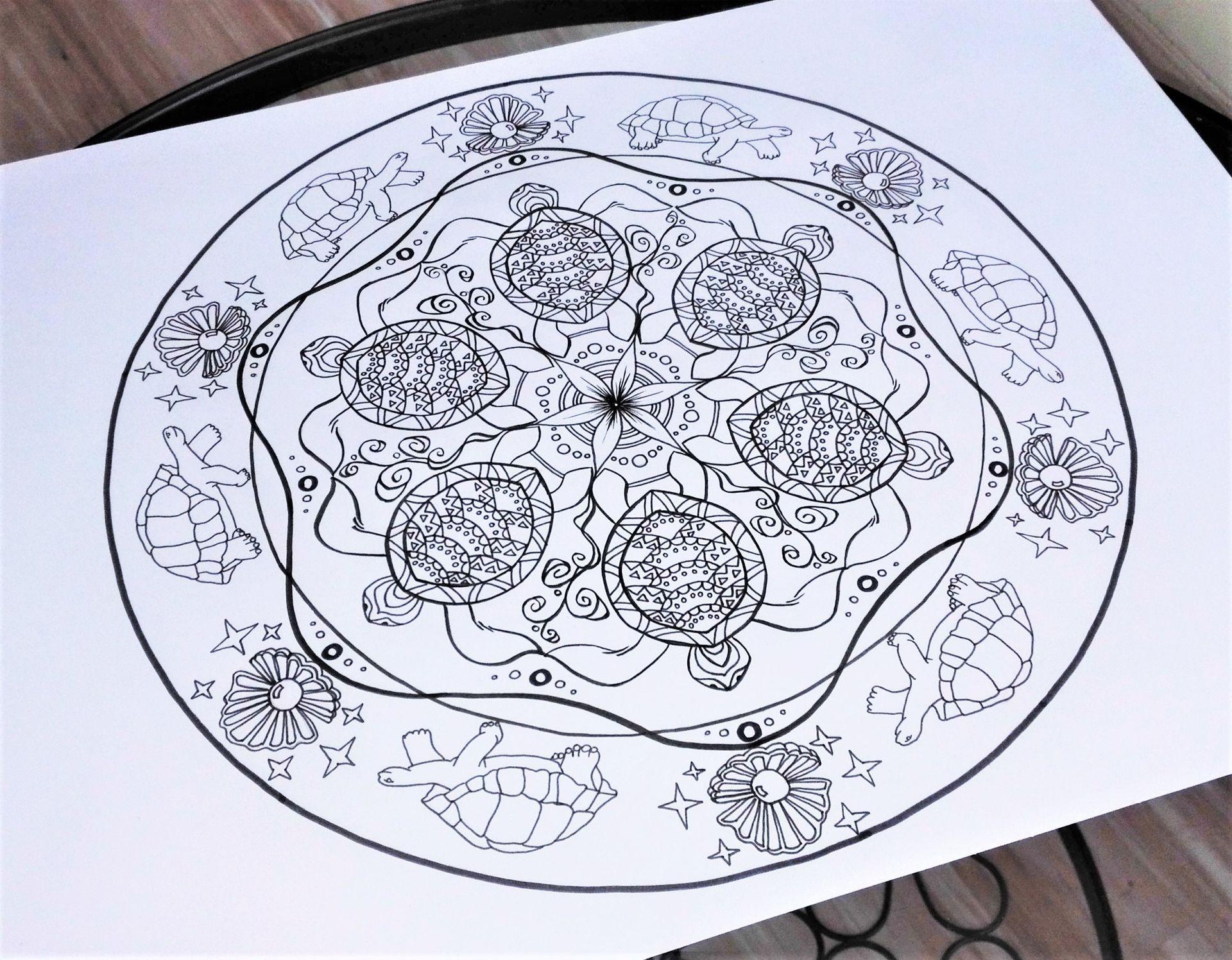 Heilsames Krafttier Mandala Schildkröte Zum Selbermalen